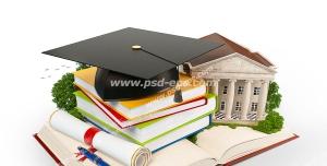 عکس با کیفیت دفاتر و کتاب های درسی با کلاه فارغ التحصیلی و ماکت دانشگاه هاروارد