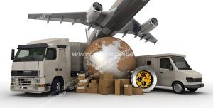عکس با کیفیت ماکت زمین در کنار کامیون ، هواپیما و ماشین های سنگین در کنار کارتون های کالا