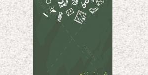 پوستر لایه باز کتاب و کتاب خوانی مطالعه و تخته سیاه