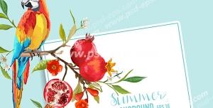 وکتور لایه باز کارت تبریک یا دعوت شب یلدا با طرح شاخه های پربار درخت انار و طوطی استوایی زیبا و رنگارنگ