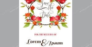 وکتور لایه باز کارت تبریک شب یلدا با طرح زیبای شاخه های درخت انار با شکوفه ها و انارهای سرخ