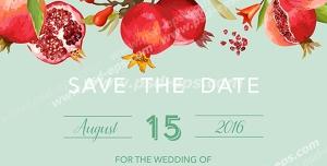 وکتور لایه باز کارت تبریک شب یلدا با طرح شاخه های درخت انار با شکوفه ها و انارهای آویزان از شاخه ها