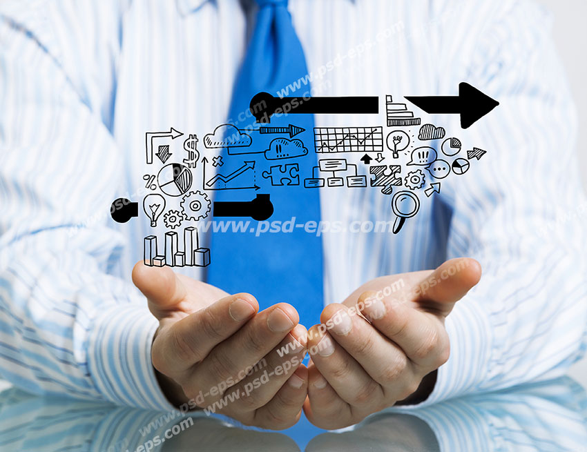 عکس با کیفیت تبلیغاتی با مضمون رشد در بازرگانی و افزایش درآمد و سود با بهره گیری از فناوری اطلاعات و بازاریابی