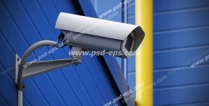 عکس با کیفیت دوربین مدار بسته سفید رنگ نصب شده بر روی دیوار