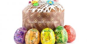 عکس با کیفیت کیک خانگی به همراه تخم مرغ های رنگی چیده شده دور آن