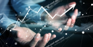 عکس با کیفیت نمودار رشد اقتصادی یا رشد سرمایه و سود در بازاریابی شبکه ای در دستان بازاریاب