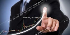 عکس با کیفیت مدیر شرکت بازاریابی در حال کشیدن نمودار رشد اقتصادی یا رشد سرمایه و سود در بازرگانی