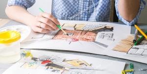 عکس با کیفیت میز کار مهندسی در حال طراحی داخلی منزل