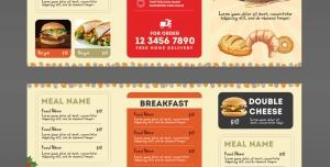 طرح آماده لایه باز بروشور سه لت ویژه منوی رستوران ها اغذیه ها و فست فود کترینگ پیتزا فروشی