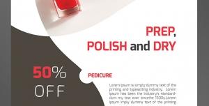 طرح آماده لایه باز پوستر یا تراکت ویژه فروشگاه های لوازم آرایشی بهداشتی فروش لاک و طراحی ناخن همراه با برچسب تخفیف