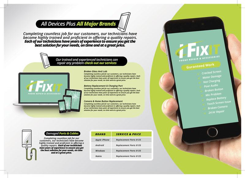 طرح آماده لایه باز بروشور سه لت ویژه شرکت های تجاری بازرگانی خرید و فروش موبایل لوازم دیجیتال