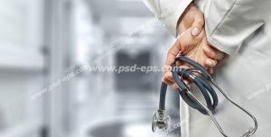 عکس با کیفیت پزشکی یا پرستار با گوشی طبی در دست در درمانگاه یا بیمارستان از نمای نزدیک