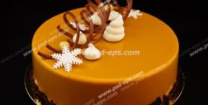عکس با کیفیت کیک میوه ای با روکش با طعم انبه و تزئین با نوار کاکائویی