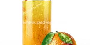 عکس با کیفیت لیوان آب پرتقال ارگانیک و طبیعی با نی به همراه یک عدد پرتقال بزرگ و رسیده