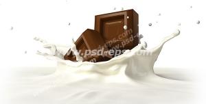 عکس با کیفیت دو تکه شکلات کاکائویی غوطه ور در شیر