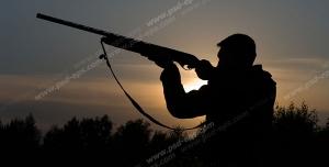 عکس با کیفیت شکارچی با تفنگ شکاری در دست در حال آماده سازی برای شکار پرنده در هنگام طلوع آفتاب