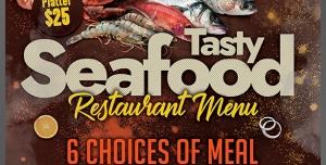 طرح آماده لایه باز پوستر یا تراکت با موضوع ماهی فروشی پروتئینی مرغ فروشی ماهیگیری میگو آشپزخانه رستوران