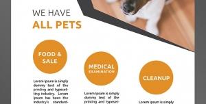 طرح آماده لایه باز پوستر یا تراکت با موضوع حیوانات خانگی دامپزشکی نگهداری و پرورش حیوانات خانگی