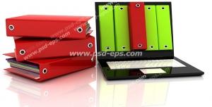 عکس با کیفیت زونکن های سبز و قرمز درون و کنار لپ تاپ با مفهوم نرم افزارهای مدیریت مکاتبات و نرم افزار حسابداری
