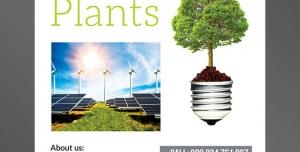 طرح آماده لایه باز پوستر یا تراکت با موضوع ایده پردازی رشد نمو پرورش گیاه انرژی خورشیدی توربین های بادی برق