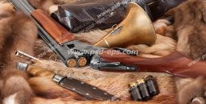 عکس با کیفیت وسایل و ابزار شکار از جمله تفنگ ، گلوله ، چاقو و کمربند شکاری
