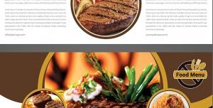 طرح آماده لایه باز بروشور سه لت ویژه رستوران فست فود اغذیه کترینگ آشپزخانه
