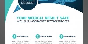 طرح آماده لایه باز پوستر یا تراکت با موضوع آزمایشگاه پزشکی سلامتی DNAپرستاری بیمارستان