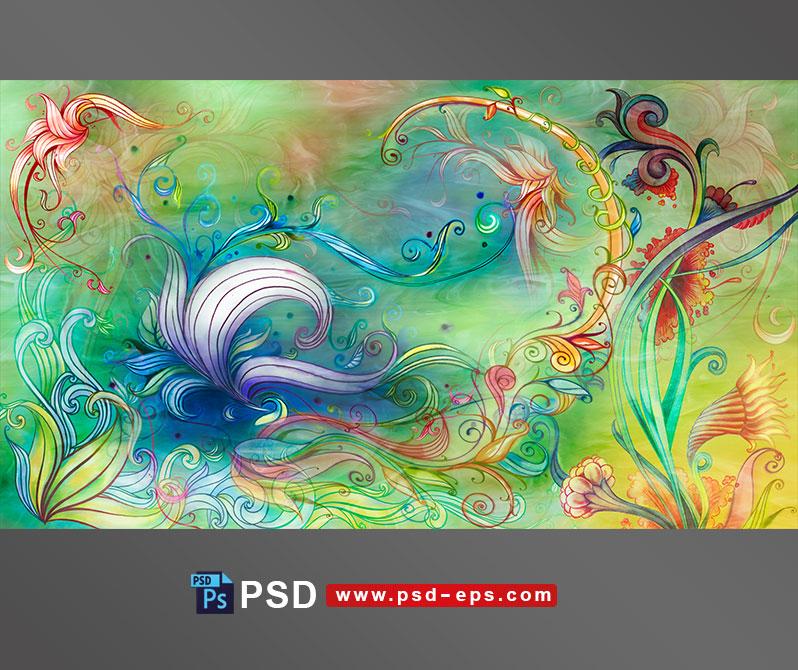 طرح یا نقاشی لایه باز با طرح های هنری یا اسلیمی گل های مختلف