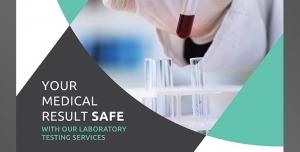 طرح آماده لایه باز پوستر یا تراکت با موضوع آزمایشگاه آزمایش خون بیمارستان پزشکی پرستاری