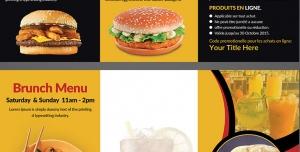 طرح آماده لایه باز بروشور سه لت ویژه منوی غذای رستوران کترینگ فست فود ساندویچ