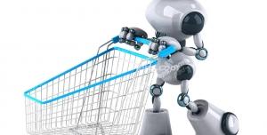 عکس با کیفیت ربات انسان نما با سبد خرید چرخ دار در دست