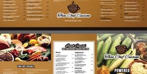 طرح آماده لایه باز بروشور سه لت ویژه منوی غذای رستوران فست فود اغذیه پیتزا کترینگ