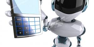 عکس با کیفیت ربات انسان نما با تلفن همراه در دست