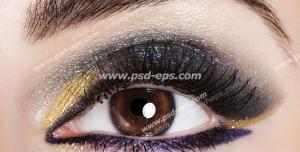 عکس با کیفیت چشم و ابروی بانویی با سایه زیبا و آرایش چشم