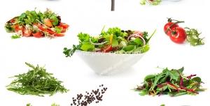 عکس با کیفیت انواع ظروف حاوی سالاد فصل با تزئین های متفاوت و تصویر مواد اولیه تهیه سالاد