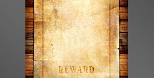 قاب یا فریم عکس فانتزی برگه پیگرد قانونی همراه با جایزه با متن wanted بر روی دیوار چوبی