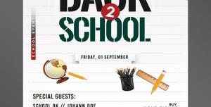 طرح آماده لایه باز پوستر یا تراکت با موضوع وسایل مدرسه خط کش مداد کیف مدرسه لوازم تحریر