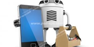عکس با کیفیت گوشی موبایل در دست رباتی با جعبه ابزار