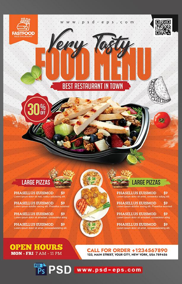 طرح آماده لایه باز پوستر یا تراکت با موضوع منوی غذا رستوران فست فود اغذیه پخت غذاهای لذیذ و دلچسب