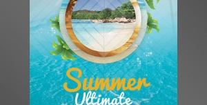 طرح آماده لایه باز پوستر یا تراکت با موضوع تابستان و تفریحات تابستانی شنا و قایق سواری مسافرت و خوشگذرونی