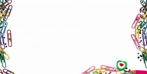 عکس با کیفیت برگه سفید با حاشیه گیره های رنگی ، ستاره های کوچک و مدادهای رنگی