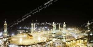 عکس با کیفیت تصویری زیبا از مسجد الحرام و کعبه در هنگام شب