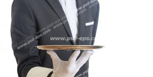 عکس با کیفیت گارسونی با کت و شلوار و پاپیون خاکستری به همراه سینی فلزی در دست