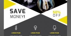 طرح آماده لایه باز پوستر یا تراکت با موضوع ایده پردازی فروش انواع لامپ الکتریکی پیشرفت در کسب و کار