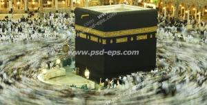 عکس با کیفیت تصویری از خانه خدا در هنگام ایام حج و طواف به دور کعبه