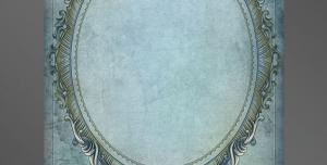 قاب و فریم عکس لایه باز قاب عکس بیضی شکل درون کاغذی با طرح گل و برگ نیلی رنگ