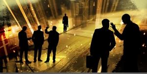 طرح لایه باز گروه های کاری یا کارمندان یا مدیران بازرگانی در حال هم فکری یا بازاریابی یا مناسب استخدام و جذب نیروی کار