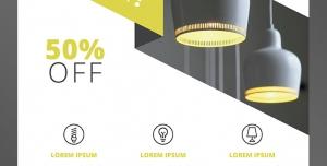 طرح آماده لایه باز پوستر یا تراکت با موضوع الکتریکی خرید لامپ و لوستر لوکس