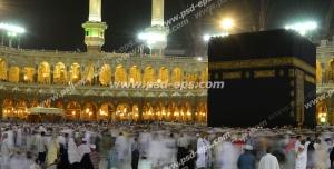عکس با کیفیت تصویری از خانه خدا (کعبه) و مسجد الحرام در هنگام شب