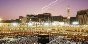 عکس با کیفیت تصویری زیبا از مسجد الحرام و کعبه در هنگام غروب آفتاب